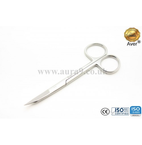 Stainless Steel Scissors, Gold Man Fox Saq Edge Curved 13 CM