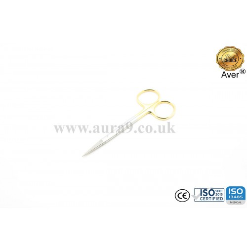 Stainless Steel Scissors Tungsten Carbide Tip, Iris Straight 12 CM
