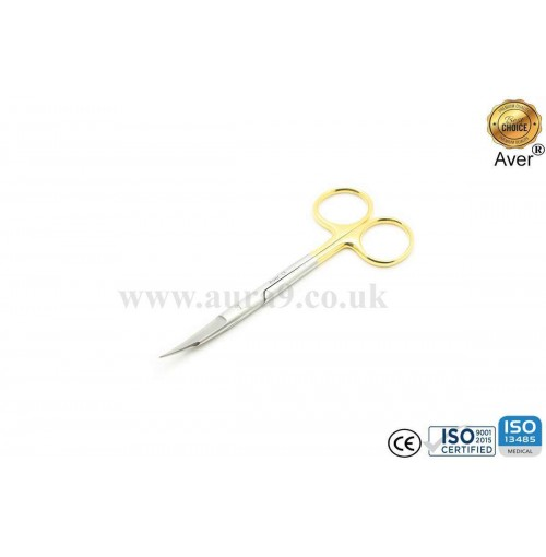 Stainless Steel Scissors Tungsten Carbide Tip, Gold Man Fox Saq Edge Curved 13 CM