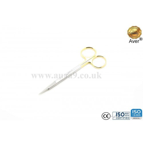 Stainless Steel Scissors Tungsten Carbide Tip, Gold Man Fox Saq Edge Straight 13 CM
