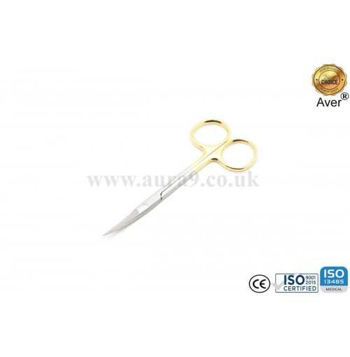 Stainless Steel Scissors Tungsten Carbide Tip, Iris Curved 12 CM