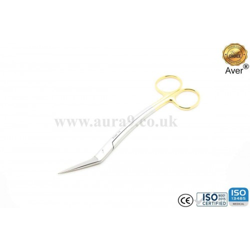 Stainless Steel Scissors Tungsten Carbide Tip, Locklin 16.5 CM Fig. 2, Curved